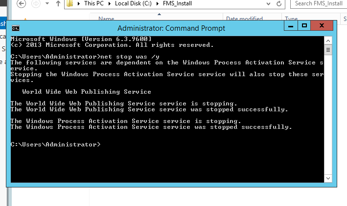 Command Prompt - stop IIS services